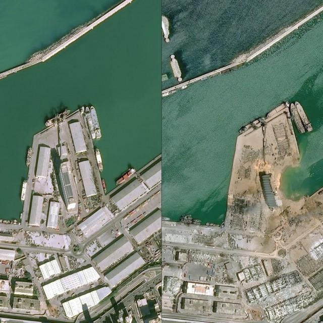 Fotografija luke u Bejrutu prije i nakon eksplozije