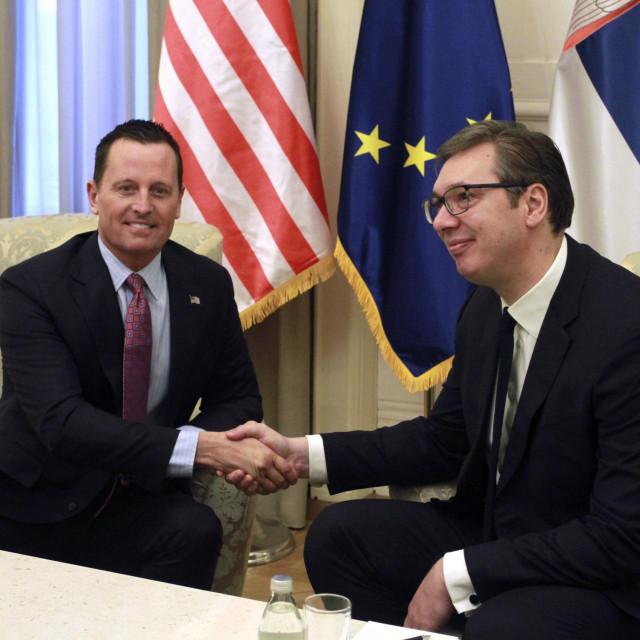 Američki izaslanik zadužen za pitanje Kosova RIchard Grenell (lijevo) i predsjednik Srbije Aleksandar Vučić (desno)