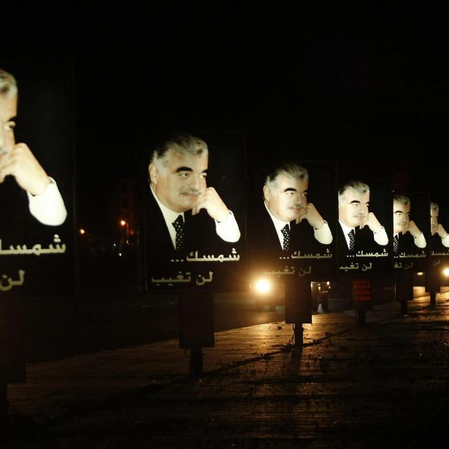 Jumbo plakati sa slikom Rafika Haririja snimljeni uz libanonsku autocestu 13. veljače 2012. godine, uoči godišnjice njegova ubojstva