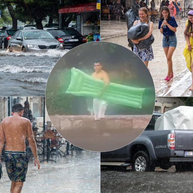 """Nevrijeme u Dubrovniku; u krugu: """"plivač"""" u Vojnovićevoj ulici"""