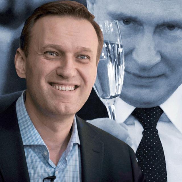 Aleksej Navaljni; iza njega Vladimir Putin