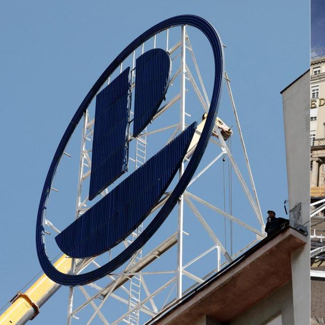 Plivina reklama stajala na zgradi odmah do zgrade poslovnice Zagrebačke banke
