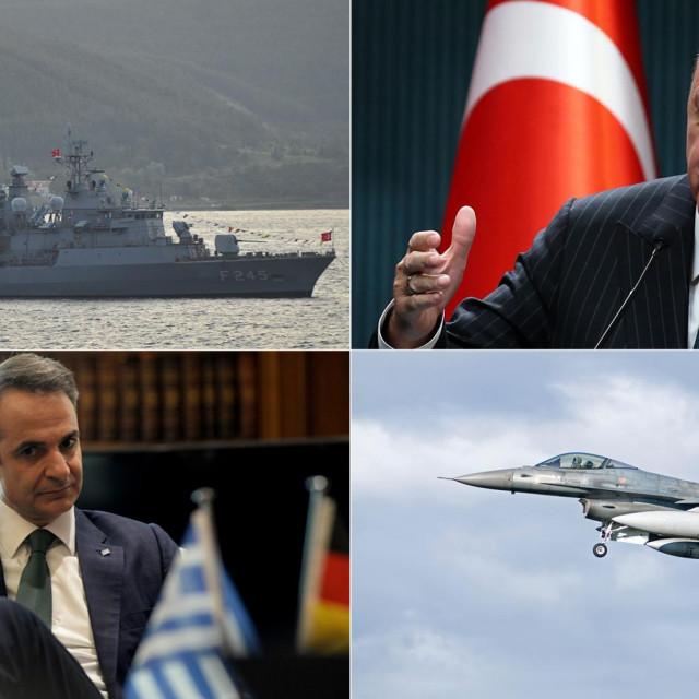 Recep Tayyip Erdogan (gore desno); Kiriakos Micotakis (dolje lijevo)