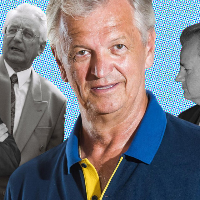 Miomir Žužul; u pozadini crno-bijelo s lijeva na desno: Bill Clinton, Franjo Tuđman, Slobodan Milošević