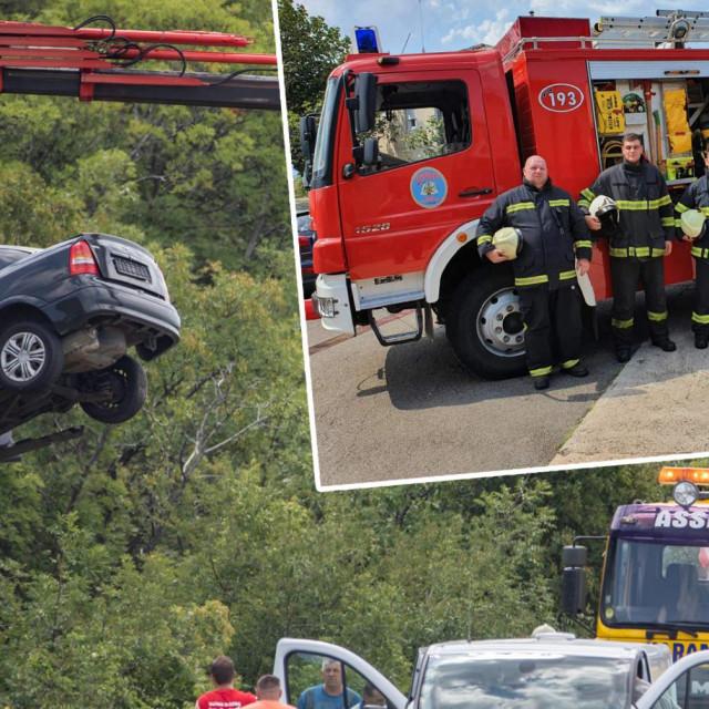 Mjesto nesreće; u pravokutniku: vatrogasciDenis, Antonio, Boris, Valentino, Dario