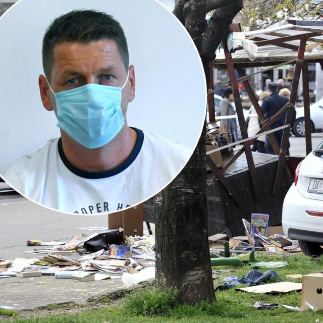 Mjesto nesreće na zagrebačkoj Trešnjevci fotografirano tijekom policijskog očevida; u krugu: Hrvoslav Jakobljević