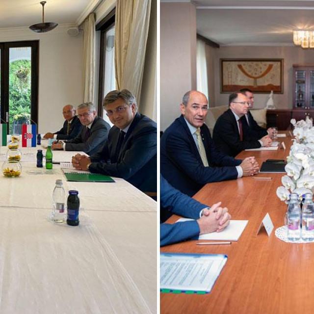 Andrej Plenković na sastanku s Viktorom Orbanom (lijevo), Andrej Plenković na sastanku s Janezom Janšom (desno)