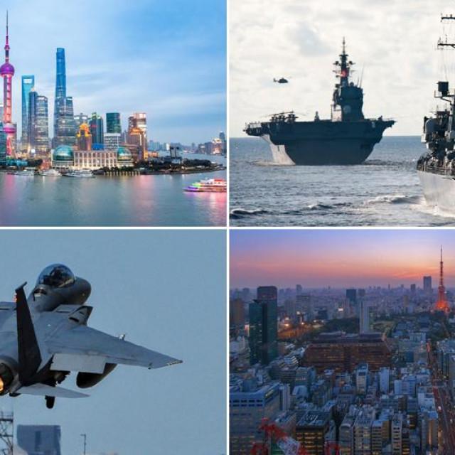 Panorama Šangaja, japanski ratni brodovi, južnokorejski borbeni avion i panorama Tokija