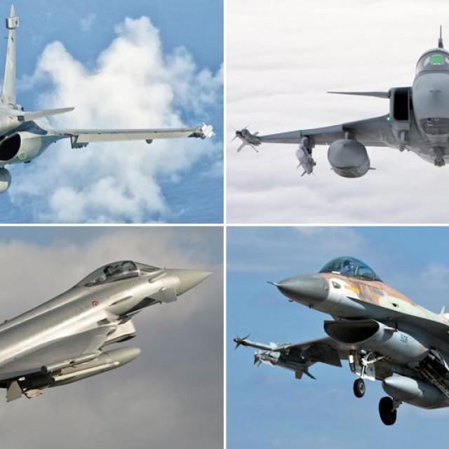 Gore: Dassault Rafale i JAS 39 Gripen; Dolje: Eurofighter Typhoon i F-16 Barak