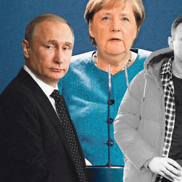 Vladimir Putin, Angela Merkel. Aleksej Navalni