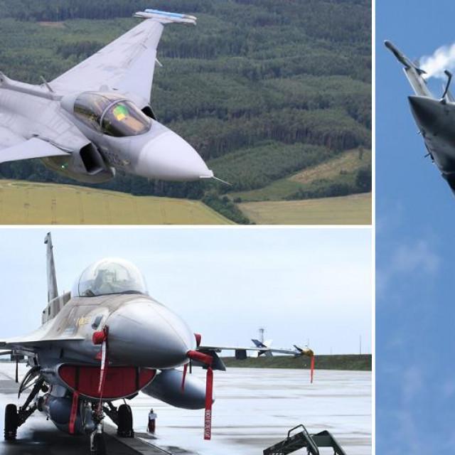 JAS 39 Gripen (gore lijevo), F-16 Barak (dolje lijevo), Dassault Rafale