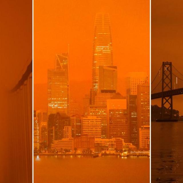 San Francisco, lijevo Golden Gate, u sredini panorama, desno Bay Bridge