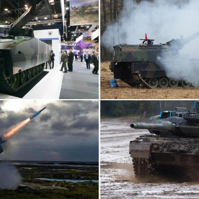 Njemačko borbeno vozilo Lynx, njemačka PZH haubica, AMRAAM projektil Raytheona, njemački tenk Leopard 2A7