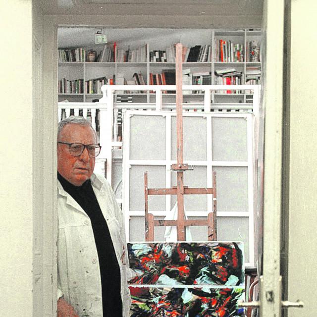 Edo Murtić, akademski slikar u svom ateljeu