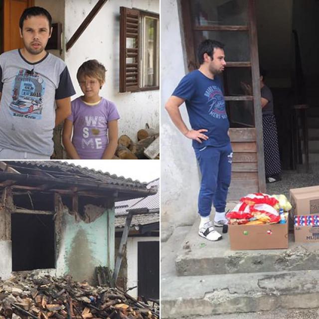 Gore lijevo: obitelj Ćosić; dolje lijevo: posljedice požara; desno: obitelj Ćosić prima pomoć