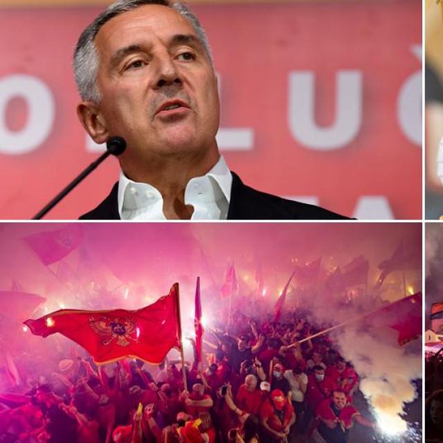 Milo Đukanović, Amfilohije Radović i prizori s prosvjeda i postizbornog slavlja u Crnoj Gori