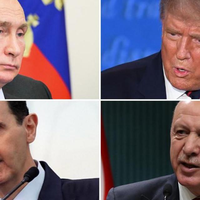 Vladimir Putin, Donald Trump, Bašar Al-Asad, Recep Tayyip Erdogan