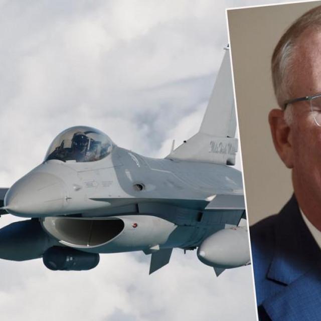 J.R. McDonald i ilustracija F-16 borbenog aviona