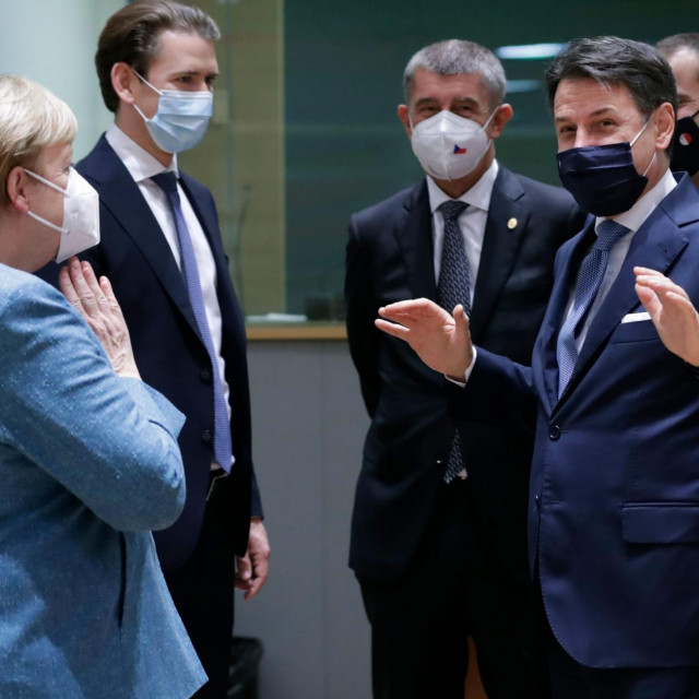 Angela Merkel, Giuseppe Conte, Sebastian Kurz, Andrej Babiš i Robert Abela