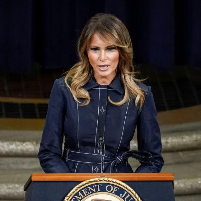 WASHINGTON, DC - MARCH 06: First Lady Melania Trump speaks at the National Opioid Summit at the U.S. Department of Justice on March 6, 2020 in Washington, DC. More than 400,000 people in the United States have died of opioid overdoses since 2000. (Photo by Drew Angerer/Getty Images)