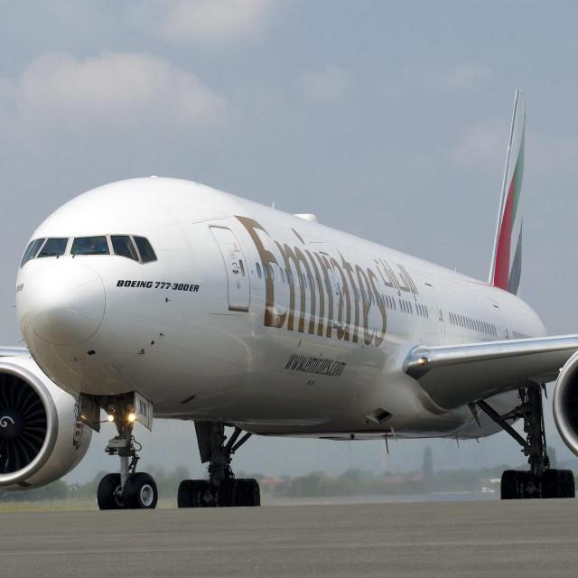 Avion Emiratesa snimljen nakon prvog slijetanja u Zagreb, u lipnju 2017.