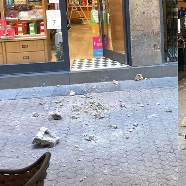 Komad betona s krova se odlomio na Bogovićevu ulicu