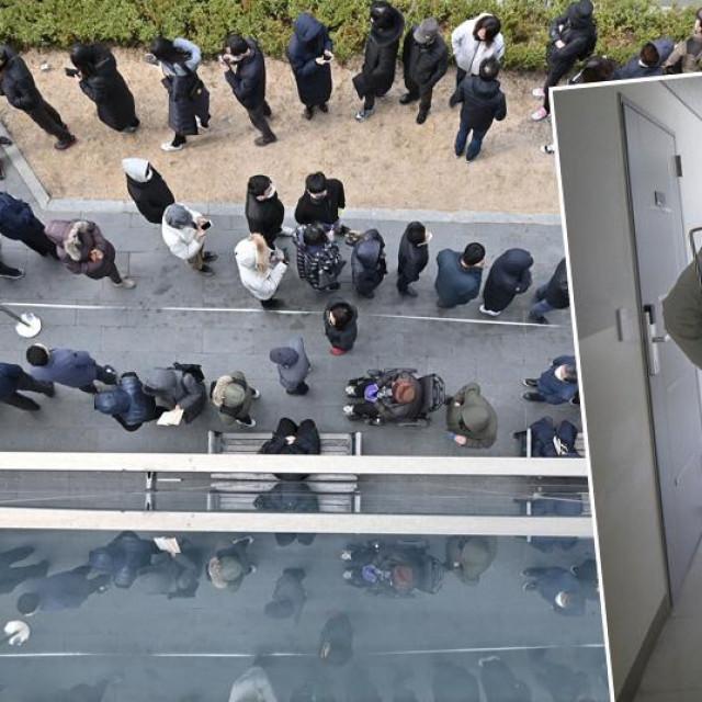 Ilustracija: Ljudi čekaju u redu za masku u Južnoj Koreji i dezinficiranje prostora