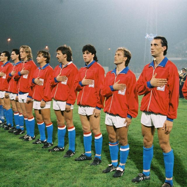 Zagreb, 17. listopada 1990. Stadion u Maksimiru, prijateljska nogometna utakmica Hrvatska - SAD 2:1