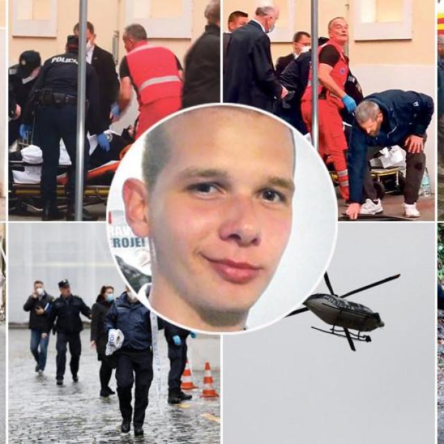 Prizori s Trga sv. Marka i Tuškanca nakon pucnjave, u sredini napadač Danijel Bezuk