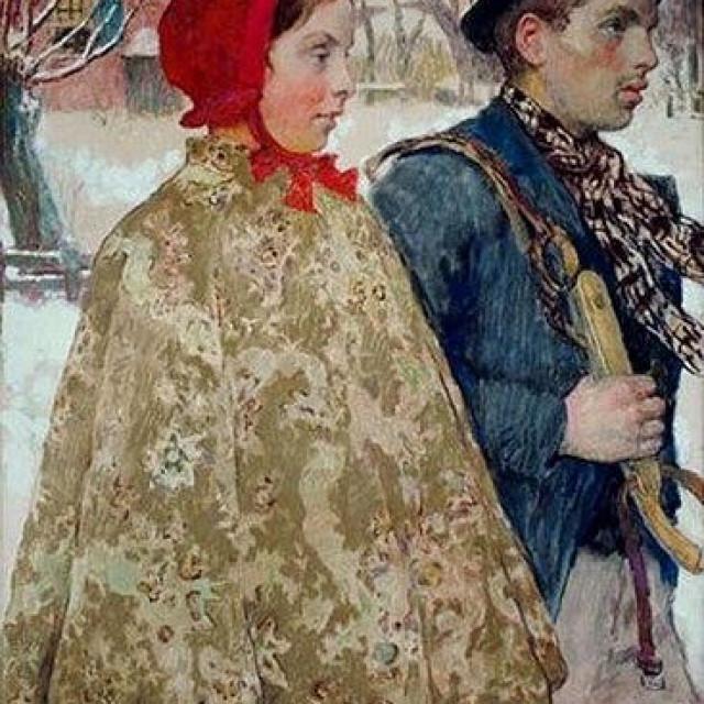 'Zima', Gari Melchers, oko 1880-90., ulje i pastela na platnu
