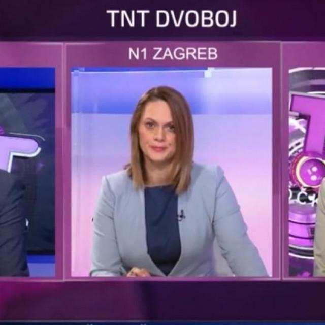 Zlatko Hasanbegović, novinarka N1 televizije Nataša Božić i Nina Obuljen Koržinek