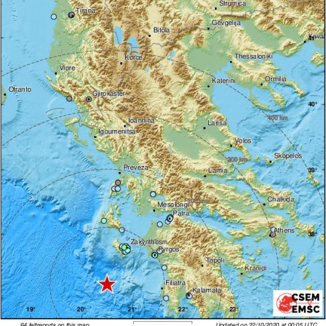 Lokacija epicentra potresa