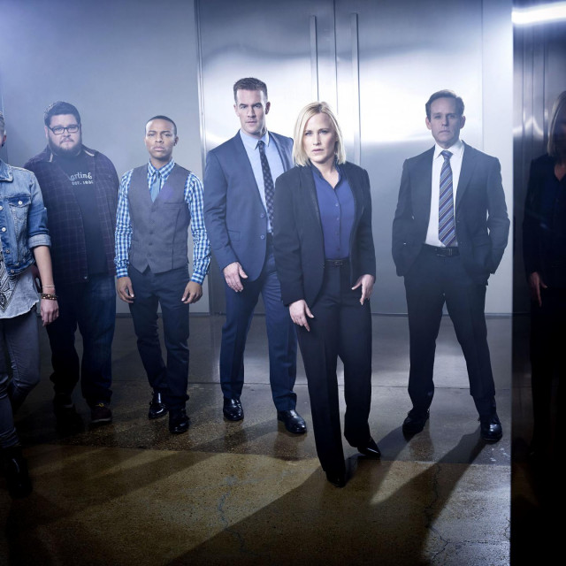(L-R) Hayley Kiyoko, Charley Koontz, Shad Moss, James Van Der Beek, Patricia Arquette and Peter MacNicol on the set of the CBS drama CSI: CYBER, scheduled to premiere on the CBS Television Network on Wednesday, March 4, 2015 (10:00-11:00 PM, ET/PT). Photo: Randee St. Nicholas/CBS © 2015 CBS Broadcasting Inc. All Rights Reserved.