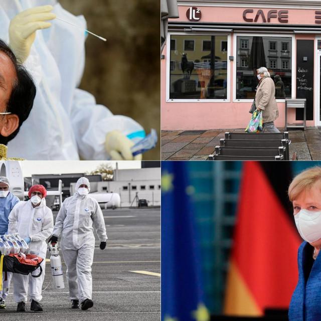 Testiranje na koronavirus u Indiji (gore lijevo); zatvoreni kafić u Njemačkoj (gore desno); liječnici prevoze oboljelog od Covida u Lyon (dolje lijevo); njemačka kancelarka Angela Merkel (dolje desno)