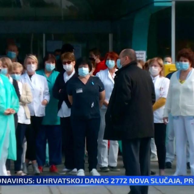 Prosvjed liječnika i medicinskih sestara ispred KB Dubrava