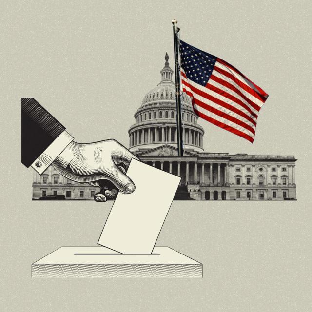 Ilustracija glasanja; u pozadini: Kongres SAD-a