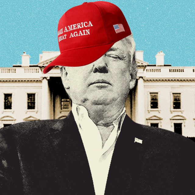 Donald Trump i Bijela kuća u pozadini