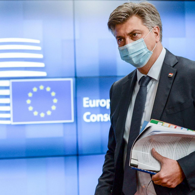 Croatia's Prime Minister Andrej Plenkovic attends the European Union leaders face-to-face summit in Brussels, on October 16, 2020. (Photo by JOHANNA GERON/POOL/AFP)