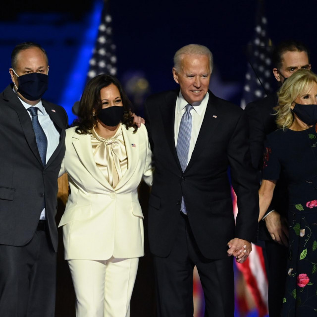US President-elect Joe Biden and Vice President-elect Kamala Harris stand with spouses Jill Biden and Doug Emhoff after delivering remarks in Wilmington, Delaware, on November 7, 2020, after being declared the winners of the presidential election.,Image: 567947772, License: Rights-managed, Restrictions:, Model Release: no, Credit line: Jim WATSON/AFP/Profimedia