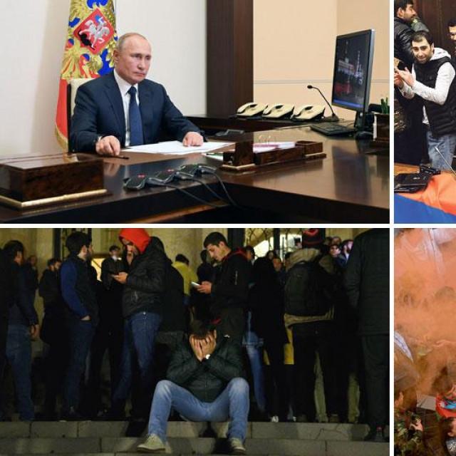 Vladimir Putin (gore lijevo), kaos u armenskom parlamentu (gore desno), nezadovoljstvo u Erevanu (dolje lijevo), slavlje u Azerbajdžanu (dolje desno)