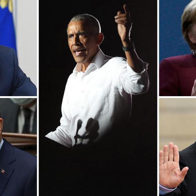 Vladimir Putin (gore lijevo), Recep Tayyip Erdogan (dolje lijevo), Barack Obama (u sredini), Angela Merkel (gore desno), Nicolas Sarkozy (dolje desno)