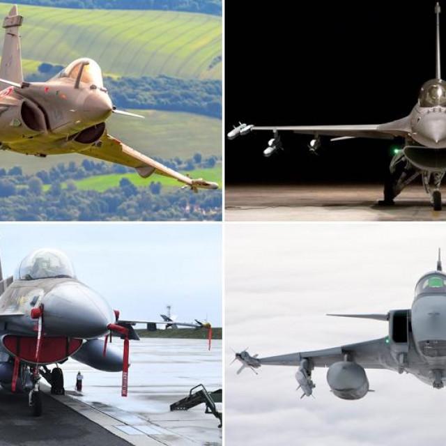 Gore: Dassault Rafale i F-16 Block 70; Dolje: F-16 Barak i JAS 39 Gripen