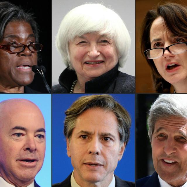 Ljudi iz BIdenova tima: Linda Thomas-Greenfield, Janet Yellen, Avril Haines, Alejandro Mayorkas, Antony Blinken i John Kerry