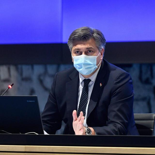 Zagreb, 261120.<br /> NSK.<br /> Hrvatske Bratske Zajednice 4.<br /> Predstavljanje epidemioloskih mjera koje traju od 28.11.do 21.12.2020 g.<br /> Na fotografiji: Andrej Plenkovic.<br />