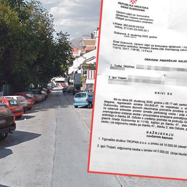 Kazna za parking u Dubrovniku