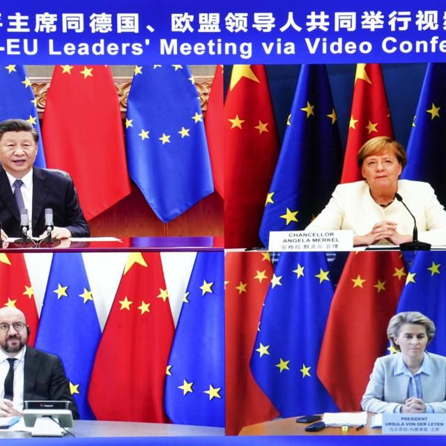 Xi Jinping, Angela Merkel, Charles Michel i Ursula von der Leyen