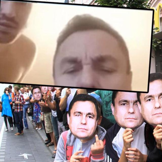 Prosvjed gay aktivista protiv Petrasa Gražulisa, u okviru detalj s videosastanka