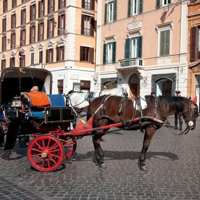 Kočija s konjima na ulicama Rima