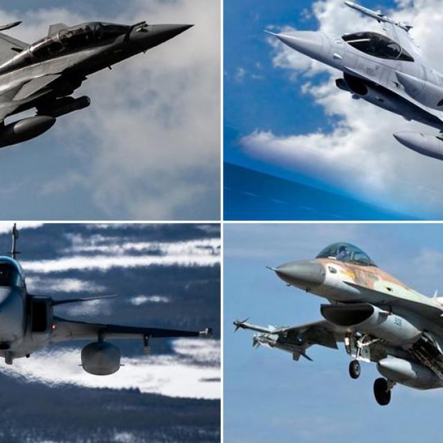 Gore: Dassault Rafale, F-16 Block 70; Dolje: JAS 39 Gripen, F-16 Barak