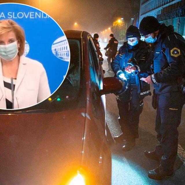 Bojana Beović (u krugu), policijske kontrole u Ljubljani